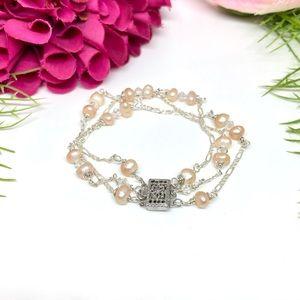 VINTAGE⚜️STERLING SILVER Genuine Pearl Bracelet
